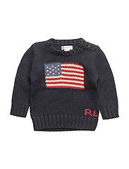 Flag Cotton Sweater - HUNTER NAVY