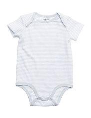 Striped Cotton Jersey Bodysuit - BERYL BLUE/WHITE