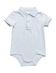 Cotton Interlock Polo Bodysuit - BERYL BLUE