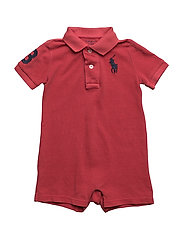 Cotton Mesh Polo Shortall - SUNRISE RED