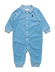 VELOUR POLO COVERALL - PAJAMA BLUE HEA