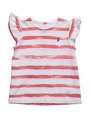 Cotton Flutter-Sleeve Tee - SALMON BERRY/WH