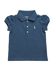 Puff-Sleeve Cotton Polo Shirt - INDIGO BLUE