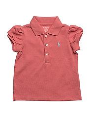 Puff-Sleeve Cotton Polo Shirt - SALMON BERRY