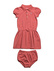 Cotton Polo Dress & Bloomer - SALMON BERRY