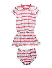 Striped Tee Dress & Bloomer - SALMON BERRY/WH