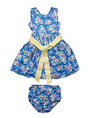 Floral Twill Dress & Bloomer - BLUE MULTI