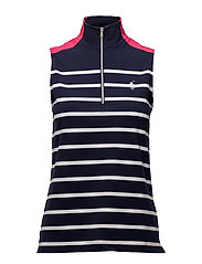 Sleeveless Striped Polo Shirt - FRENCH NAVY/PURE