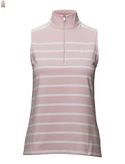 Sleeveless Striped Polo Shirt - ISLAND PINK/ PURE