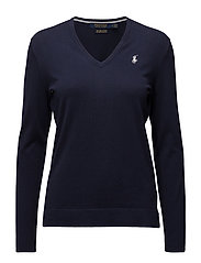 Cotton V-Neck Sweater - FRENCH NAVY