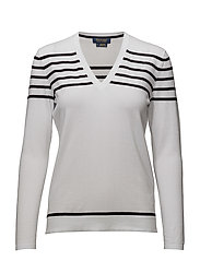 STRIPE VN-LONG SLEEVE-SWEATER - PURE WHITE W POLO BLACK