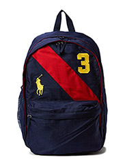 BANNER STRIPE II BACKPACK LG - NAVY W RED STRIPE AND GOLD LOGO