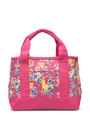 SCHOOL TOTE SMALL - PINK WATERCOLOR FLORAL/YELLOW