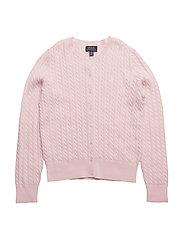 Cable-Knit Cotton Cardigan - HINT OF PINK