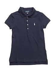 Stretch Cotton Mesh Polo Shirt - FRENCH NAVY