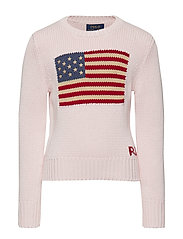 Flag Cotton Crewneck Sweater - FRENCH PINK