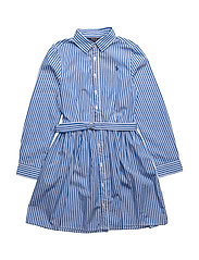 Striped Cotton Shirtdress - BLUE/WHITE