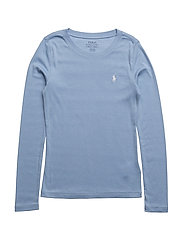 Cotton–Blend Crewneck Tee - KENT BLUE
