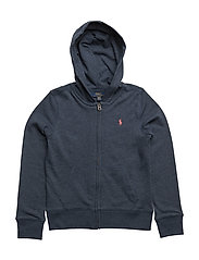 French Terry Full-Zip Hoodie - INDIGO HEATHER BLUE