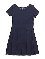 Pleated Ribbed Ponte Dress - NEWPORT NAVY