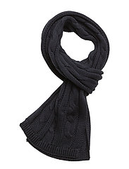 Cable-Knit Cotton Scarf - HUNTER NAVY