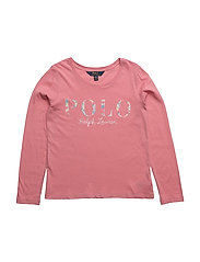 Cotton Long-Sleeve Graphic Tee - RUGBY PINK