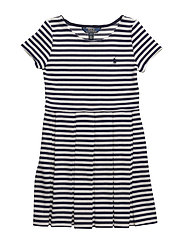 Striped Pleated Ponte Dress - NEWPORT NAVY/NEVIS