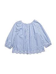 Striped Eyelet Cotton Top - BLUE/WHITE