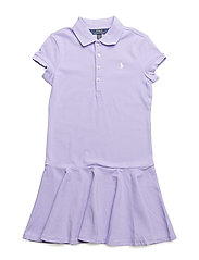 Stretch-Cotton Mesh Polo Dress - POWDER PURPLE