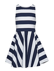 Striped Ponte Sleeveless Dress - NEWPORT NAVY/WHIT