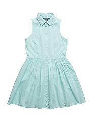 Sleeveless Poplin Shirtdress - CRYSTAL BLUE
