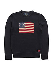 Flag Cotton Crewneck Sweater - HUNTER NAVY
