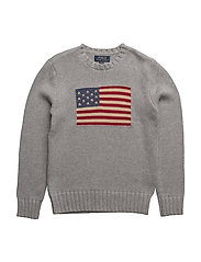Flag Cotton Crewneck Sweater - GREY HEATHER