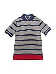 Striped Cotton Mesh Polo Shirt - ANDOVER GREY MULTI
