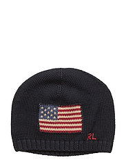 Flag Combed Cotton Beanie - HUNTER NAVY