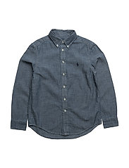 Indigo Cotton Chambray Shirt - DARK BLUE