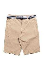 Slim Fit Belted Stretch Short - COASTAL BEIGE