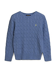 Cotton Cable Sweater - SOFT ROYAL HEATHE
