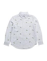 Striped Cotton Oxford Shirt - BLUE MULTI