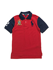 Color-Blocked Cotton Mesh Polo - RL2000 RED/NEWP