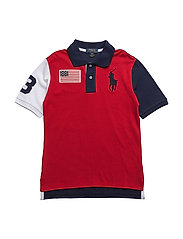 Color-Blocked Cotton Mesh Polo - RL 2000 RED