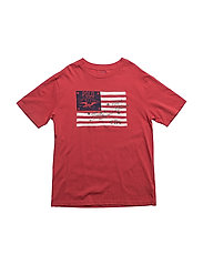 Cotton Jersey Graphic Tee - SUNRISE RED