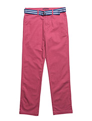 Belted Stretch Cotton Chino - RED CORAL