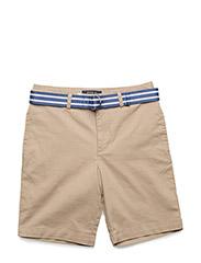 Belted Stretch Cotton Short - COASTAL BEIGE