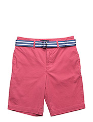 Belted Stretch Cotton Short - RED CORAL