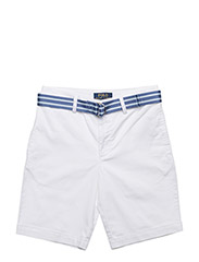 Belted Stretch Cotton Short - WHITE
