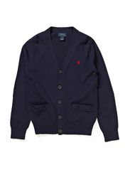 CARDIGAN W/SUEDE ELBOWS - HUNTER NAVY