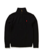 LS 1/2 ZIP MOCK NECK PO - POLO BLACK