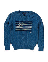 LS CN SWEATER FLAG - NAVY