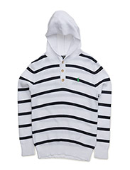 STRIPE HOOD-TOPS-SWEATER - WHITE MULTI